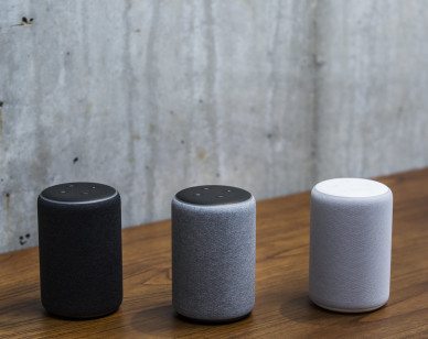 Amazon Echo Plus smart speakers sit on display at the Amazon.com Inc. Spheres headquarters during an unveiling event in Seattle, Washington, U.S., on Thursday, Sept. 20, 2018. Amazon.com Inc. unveiled its vision for smart homes powered by the Alexa voice assistant, with a dizzying array of new gadgets and features for almost every room in the house -- from a microwave oven to a security camera and wall clock. Photographer: Andrew Burton/Bloomberg via Getty Images